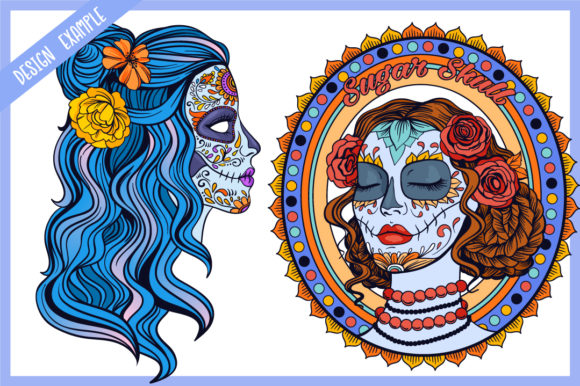 Print on Demand: Calavera Ladies Collection 21 Elements Graphic Coloring Pages & Books Adults By tatiana.cociorva - Image 5
