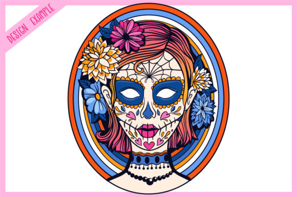 Print on Demand: Calavera Ladies Collection 21 Elements Graphic Coloring Pages & Books Adults By tatiana.cociorva - Image 7