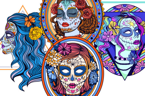 Print on Demand: Calavera Ladies Collection 21 Elements Graphic Coloring Pages & Books Adults By tatiana.cociorva - Image 9