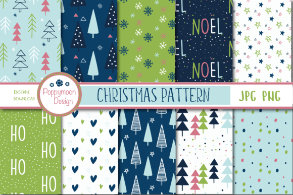 Print on Demand: Christmas Pattern Graphic Patterns By poppymoondesign - Image 1