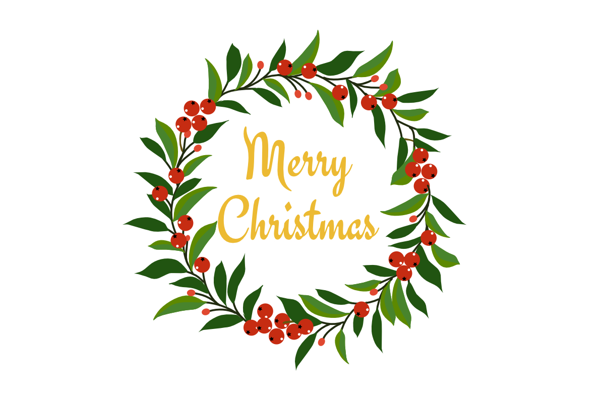 Download Free Christmas Wreath Graphic By Thanaporn Pinp Creative Fabrica for Cricut Explore, Silhouette and other cutting machines.