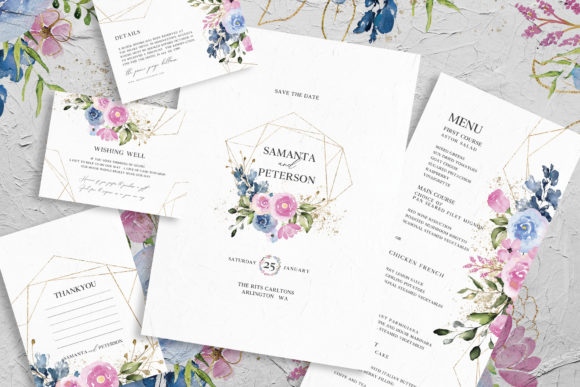 Delicate Floral Wedding Suite Graphic By azkacreative25 Image 2