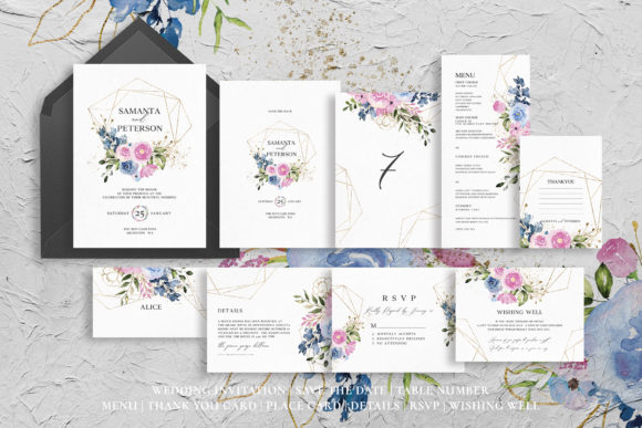 Delicate Floral Wedding Suite Graphic By azkacreative25 Image 4