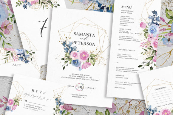Delicate Floral Wedding Suite Graphic By azkacreative25 Image 1