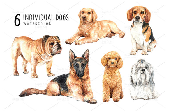 Print on Demand: Dog Watercolor Clipart Set Graphic Illustrations By SapG Art - Image 2