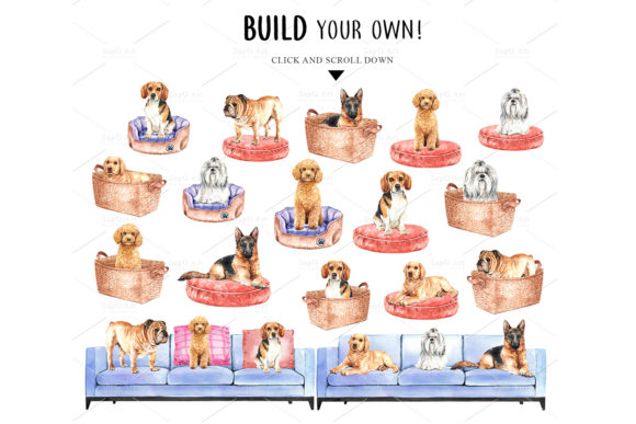 Print on Demand: Dog Watercolor Clipart Set Graphic Illustrations By SapG Art - Image 5