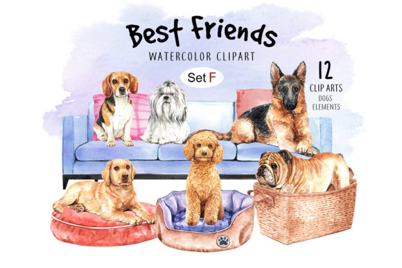 Print on Demand: Dog Watercolor Clipart Set Graphic Illustrations By SapG Art - Image 1