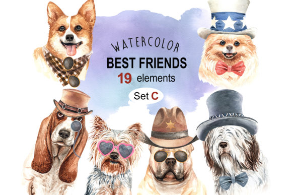 Dogs and Accessories Watercolor Set Graphic By SapG Art