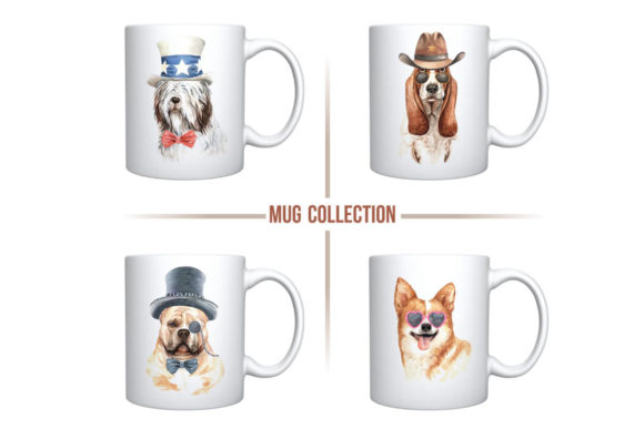 Print on Demand: Dogs and Accessories Watercolor Set Graphic Illustrations By SapG Art - Image 7