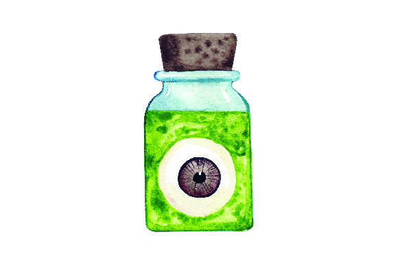 Eyeball in Jar - Watercolor Halloween Craft Cut File By Creative Fabrica Crafts - Image 1