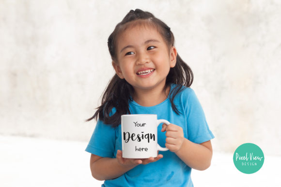 Print on Demand: Girl Holding Mug Mock Up Graphic Product Mockups By Pixel View Design