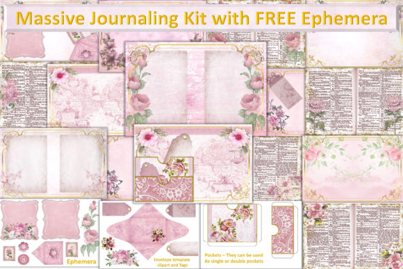 Download Free Grunge Roses Journal Kit Free Ephemera Graphic By The Paper for Cricut Explore, Silhouette and other cutting machines.