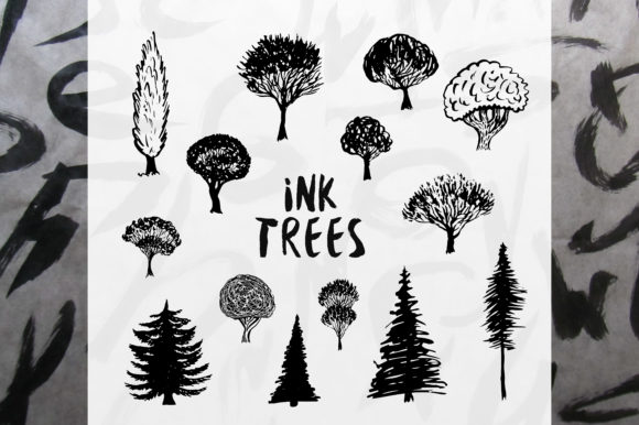 Print on Demand: Ink Trees Vector Set Graphic Illustrations By worldion