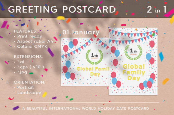 January 01  Global Family Day Graphic Print Templates By Textures
