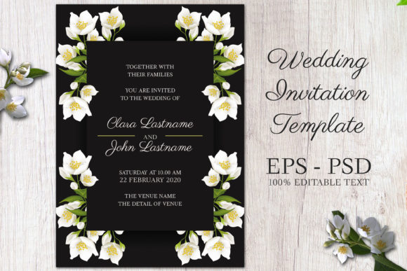Download Free Jasmine Floral Wedding Invitation Card Graphic By Elsabenaa for Cricut Explore, Silhouette and other cutting machines.