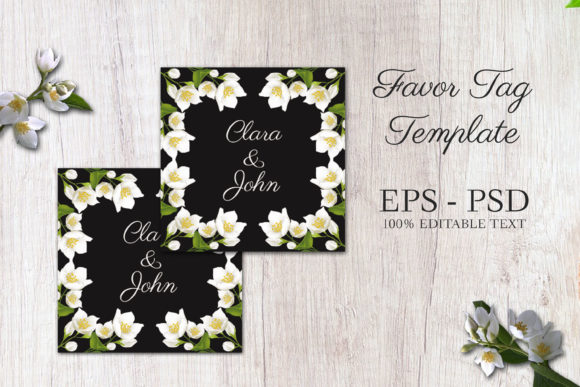 Download Free Jasmine Wedding Favor Tag Template Graphic By Elsabenaa for Cricut Explore, Silhouette and other cutting machines.
