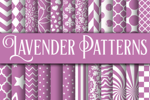 Print on Demand: Lavender Patterns Digital Paper Graphic Backgrounds By oldmarketdesigns - Image 1