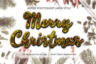 Print on Demand: Photoshop Christmas Winter Layer Style Graphic Layer Styles By anomali.bisu