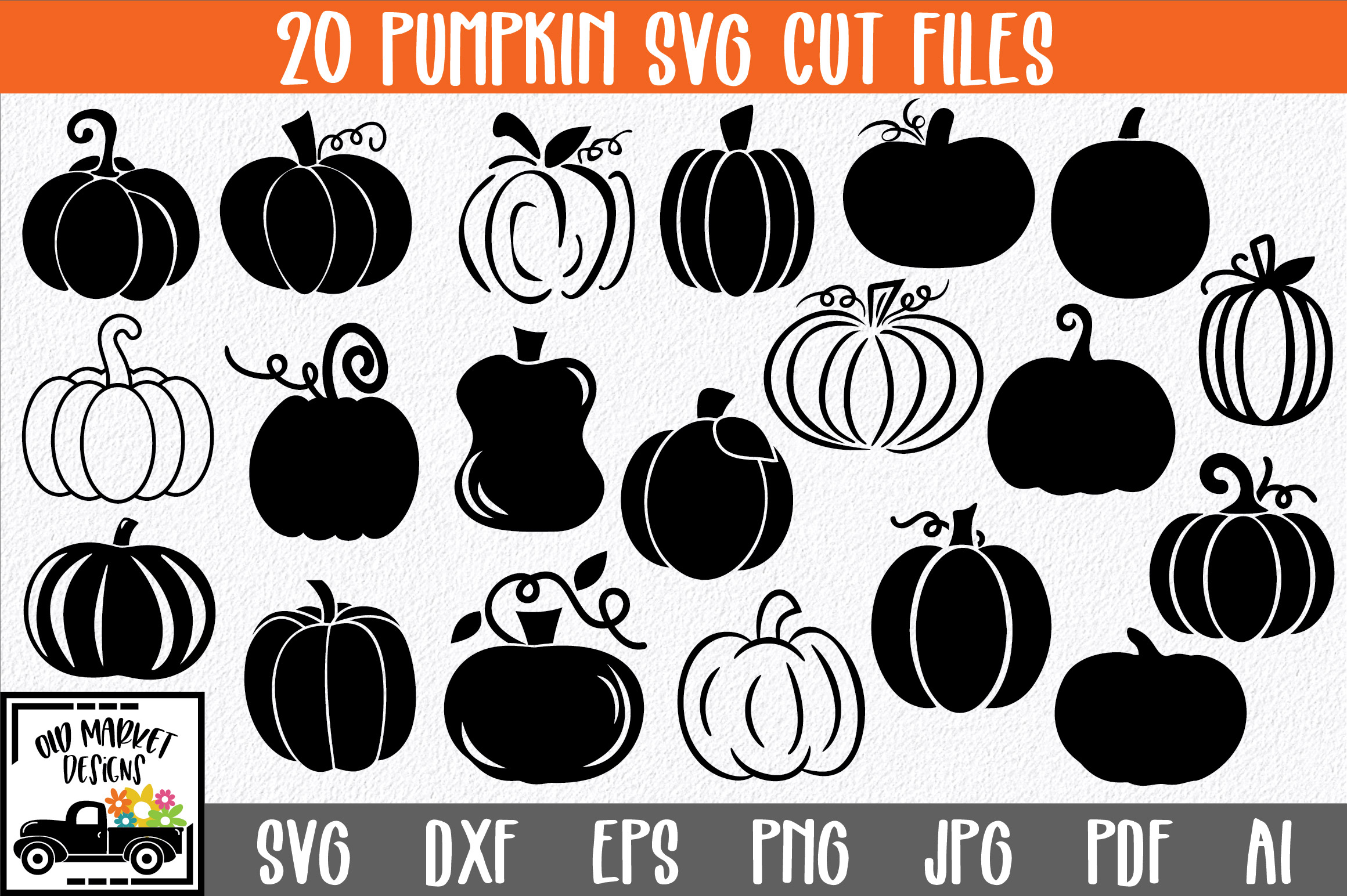 Download Free Pumpkins Cut File Bundle Graphic By Oldmarketdesigns Creative for Cricut Explore, Silhouette and other cutting machines.