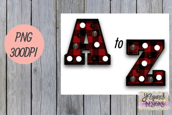 Red Plaid Marquee Alphabet Graphic By jk2quareddesigns Image 1