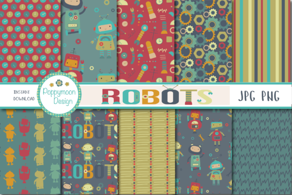 Print on Demand: Robot Paper Graphic Patterns By poppymoondesign