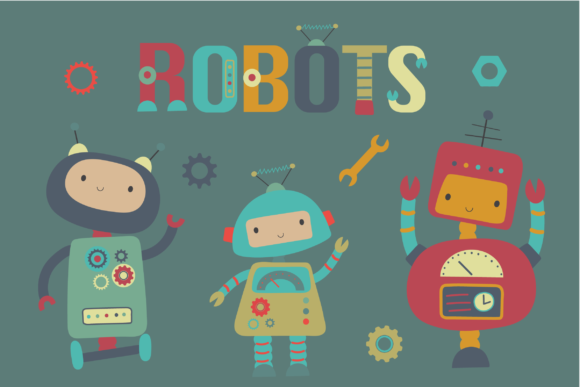 Print on Demand: Robots Graphic Illustrations By poppymoondesign