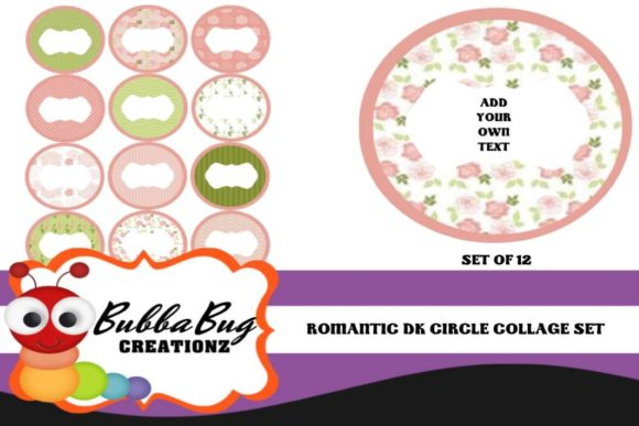 Romantic Circle Collage Set Graphic Crafts By BUBBABUG - Image 1