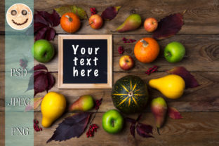 Rustic Square Frame Mockup with Pumpkins Graphic By TasiPas