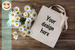 Print on Demand: Rustic Tote Bag Mockup with Daisy Graphic Product Mockups By TasiPas