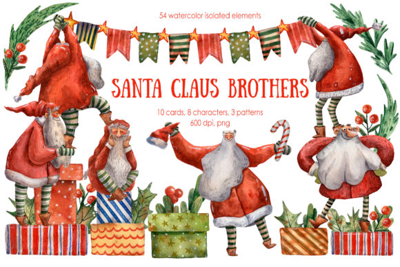Santa Claus Brothers Watercolor Set Grafik Illustrationen von mashamashastu
