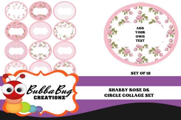 Shabby Rose Circle Collage Set Graphic Crafts By BUBBABUG - Image 1
