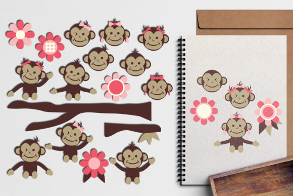 Print on Demand: Spring Monkeys Graphic Illustrations By Revidevi