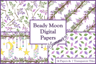 Summer Beady Moon Digital Papers & Tiles Graphic By Lila Lilyat