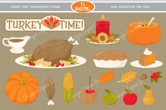 Thanksgiving Dinner Clipart - 18 Graphic Graphic Illustrations By TL Digital