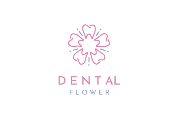 Print on Demand: Tooth and Flower Pattern for Dental Grafik Logos von Enola99d