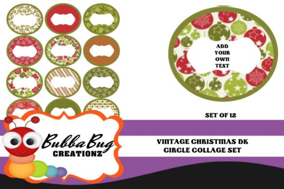 Vintage Christmas Circle Collage Set Graphic By BUBBABUG