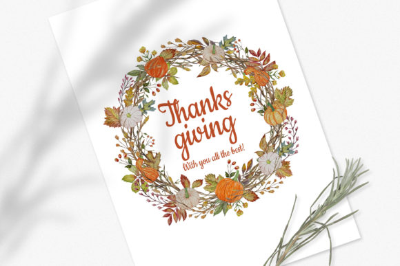 Download Free Watercolor Thanksgiving Wreaths Set Graphic By Pawstudio for Cricut Explore, Silhouette and other cutting machines.