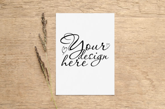 Print on Demand: Wedding Card Mockup with Herbs Graphic Product Mockups By Natalia Arkusha
