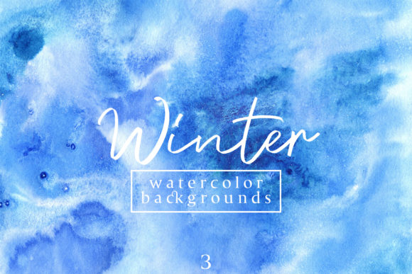 Print on Demand: Winter Watercolor Backgrounds 3 Graphic Backgrounds By freezerondigital