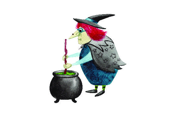Witch Stirring Potion - Watercolor Halloween Craft Cut File By Creative Fabrica Crafts