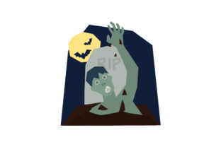 Zombie Climbing out of Grave Halloween Craft Cut File By Creative Fabrica Crafts