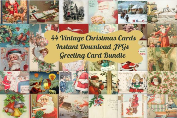 Download Free 44 Vintage Christmas Card Art Images Graphic By Scrapbook Attic SVG Cut Files