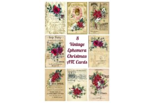 Download Free 8 Vintage Christmas Ephemera Atc Cards Graphic By Scrapbook for Cricut Explore, Silhouette and other cutting machines.