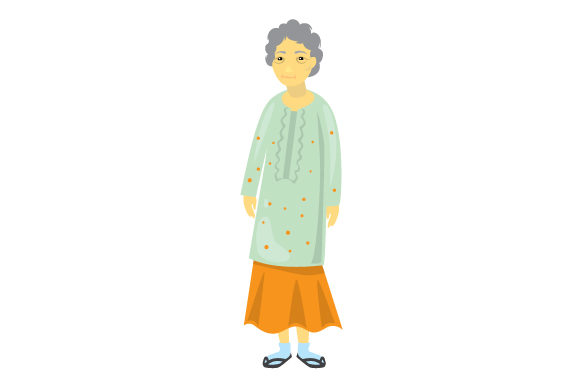 Asian Elderly Woman Svg Cut File By Creative Fabrica Crafts