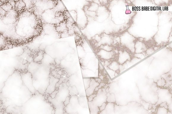 Champagne Marble Glam Digital Papers Graphic Download