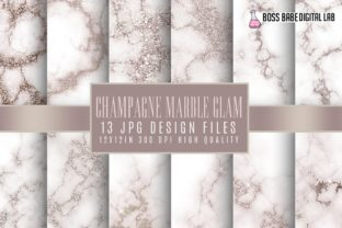 Champagne Marble Glam Digital Papers Graphic By bossbabedigitallab