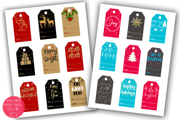 Download Free Christmas Gift Tags Holiday Gift Tags Graphic By Happy Printables Club Creative Fabrica for Cricut Explore, Silhouette and other cutting machines.