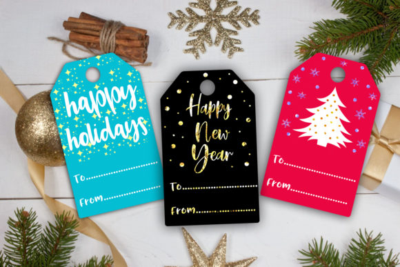 Download Free Christmas Gift Tags Holiday Gift Tags Graphic By Happy for Cricut Explore, Silhouette and other cutting machines.