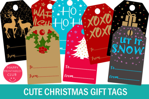 Print on Demand: Christmas Gift Tags- Holiday Gift Tags Gráfico Crafts Por Happy Printables Club