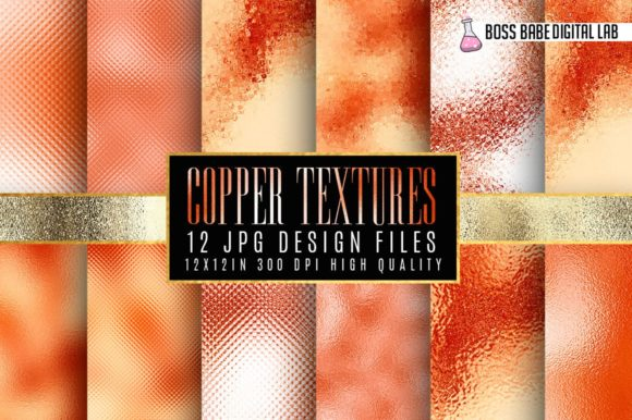 Print on Demand: Copper Foil Textures Grafik Hintegründe von bossbabedigitallab